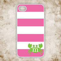 RUBBER Monogrammed iPhone 5 Case - Rose Stripes with Custom Initial in Apple Colored Crab -  Monogram iPhone 5 Case, IPHONE 5