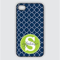 iPhone 4 Case - Lattice Pattern with Custom Monogram Name - iPhone Case, iPhone 4s Case, Cases for iPhone 4, iPhone 4 Cover