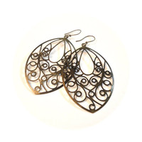 Large Bronze Filigree Earrings  lightweight by ASimpleKindOfFancy