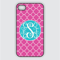 RUBBER Monogram iPhone 5 Case -Hot Pink Lattice with Turquoise Monogram  -  Monogram iPhone Case, iPhone 5 Case, iPhone 5 Cover IPHONE 5