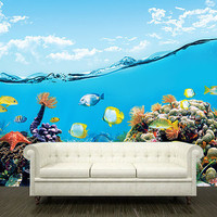 Wall STICKER MURAL ocean sea underwater decole film poster 150x102""