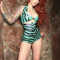 Latex Zebra playsuit by Kaorimg on Etsy