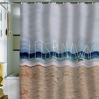 DENY Designs Leah Flores Let's Run Away III Fabric Shower Curtain (White)