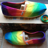 Women&#x27;s Custom Toms Rainbow Tie Dye Shoes by 2dye4designs on Etsy