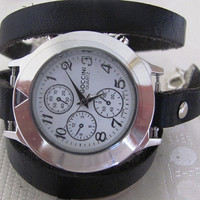 Black Leather Wrap Watch  FREE SHIPPING