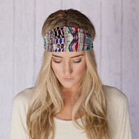 Pink Aztec Headband Striped Aztec Crinkled Pattern Headband Tribal Stretchy Wide Bohemian Headband Women's Fashion Hair Accessory