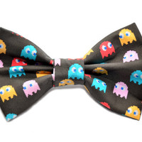 Pacman Ghost Bow Tie with Adjustable Strap by uniquechicbowtique