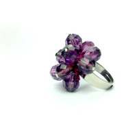 purple crystal ring valentine gift by theflowerdesign on Etsy