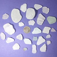 Genuine Sea Beach Glass Clear &amp; Frosty Over 25 pieces surf tumbled Mexico beach