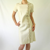 Vintage Shift Dress 1950s  1960s Office Beige by ItchforKitsch