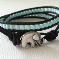 Turquoise Czech Glass Double Wrap Leather by Jennasjewelrydesign