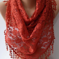 by womann Lace scarf... It made with good quality Lace --brick color
