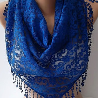 by womann Lace Triangle Scarf- It made with good quality Lace--Cobalt