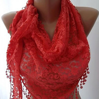 by womann Lace scarf... It made with good quality Lace--Coral