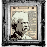 Upcycled Vintage Dictionary Book Page Art Mark Twain by FoxHunterStudios