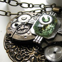 Round Steampunk Antique Brass Medallion Necklace by steamheat