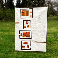 Modern Lap Quilt, Quilted Wall Art, Southwestern, Orange, Brown Quilt
