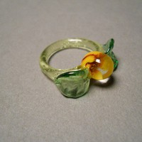 Glass Sunflower with Leaf and Vine Sculptured Ring by Glassnfire