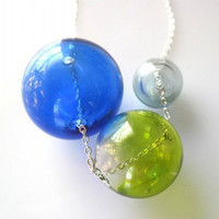 Blue Green and Gray Glass Orb Trio Necklace by SeahagAndWalrus