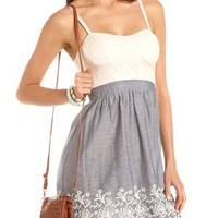 Embroidered Lace Top Dress: Charlotte Russe