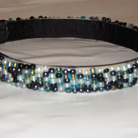 Beautiful 5/8 inch hard headband hand beaded by LizziesBowtique1