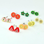 7 Day Stud Plus One Free. Handmade miniature polymer clay food jewlery