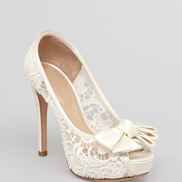 Joan & David Peep Toe Platform Pumps - Cutie Lace | Bloomingdale's