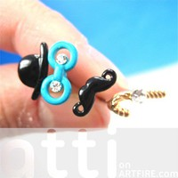 Top Hat and Mustache 4 piece Stud Earring Set