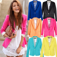 6 Candy Color Womens Casual Slim One Button Tunic Blazer Jacket Suit XS S M L