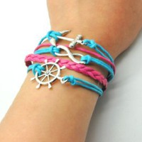 Blue Rope and Pink Braided Leather Steampunk Adjustable Vintage Silver Karma Bracelet, infinity Wish Anchor Rudder Bracelet 1151r: Jewelry: Amazon.com