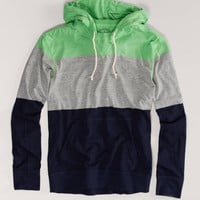 AEO Men's Striped Hoodie Tee (Neon Lime)