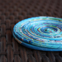 Blue Recycled Paper Coasters - Set of 2