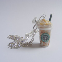 Scented or Unscented Starbucks inspired Caramel Frappuccino Miniature Food Necklace Pendant - Miniature Food Jewelry