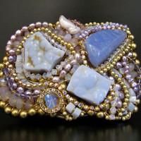"Hand Wired Artisan Accessories by Sharona Nissan -  High End Belt Buckle with Lavender Semi precious Stones ""The Alien"""