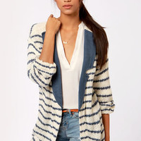 Lavand Swell Lapels Blue and Cream Striped Sweater