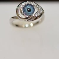 Silver &amp; Cz Evil Eye Ring: Jewelry: Amazon.com