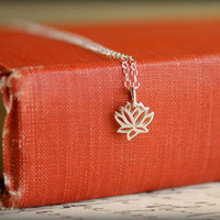 Lotus Flower Necklace in Sterling Silver by saffronandsaege
