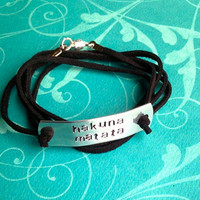 Custom Hand Stamped Suede Bracelet Pick by LaurenElaineDesigns