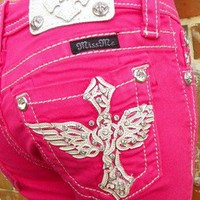 NWT Girls Kids Miss Me Size 14 Bright Pink Blue Jean Capri's White Cross & Wings