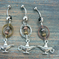 choose 1 genie in a bottle belly ring aladdin&#x27;s lamp Copper beads in belly dancer fantasy gypsy hippie morrocan boho and hipster style