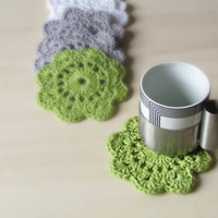 Crochet flowers coasters / garland or embellishment / white grey and green / set of 6