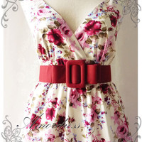 Floral Tea Dress Summer Red Pink Floral Light Cream Dress High Waisted Vintage Inspired Dress Cocktail Garden Dress Tea Party Dresses -S-M-