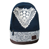 Canvas Backpack with Lace  Faboutique