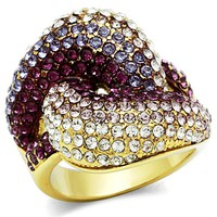Ion Gold Plated Crystal Ring - 06584