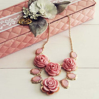 Florence Necklace in Pink, Women's Sweet Bohemian Jewelry