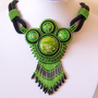 Statement Beadwork Bead Embroidery Pendant Necklace with Green Sea Sediment Jasper - GREEN PARADISE - green - black