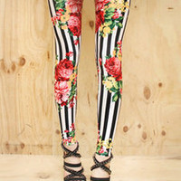 AsiaJam.com Fashion Boutique | Rose Garden Stripe Leggings