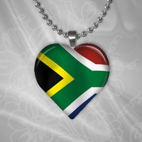 Puffy Heart Shaped Glass Pendant - Flag of Africa - Shimmer Metallic | HCLTreasures - Jewelry on ArtFire