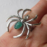 Choose Your Color Spider Ring, Big Spider Ring, Silver Spider Ring, Blue Spider Ring, Spider Ring