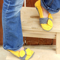 Bow tie strap slippers, booties, shoes, socks in thunderous sunshine yellow and grey.